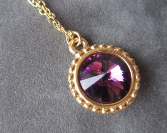 Gold February Birthstone Necklace, Purple Swarovski Crystal Jewelry, Amethyst Necklace