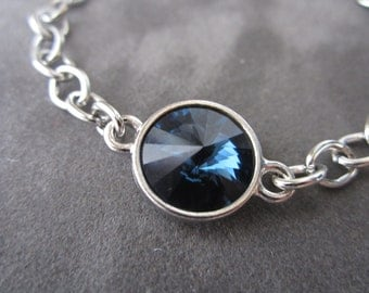 Montana Sapphire Bracelet, Dark Blue Bracelet, Swarovski Crystal Jewelry, Silver Chain Navy Bracelet,