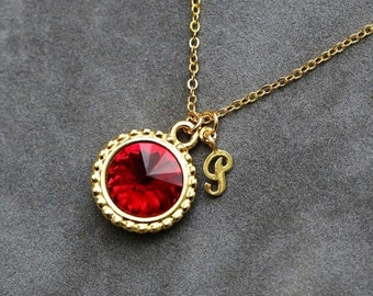 July Birthstone Necklace, Personalized Initial Jewelry, Gold New Mom Jewelry, Ruby Initial Necklace