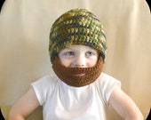 Crochet Boy Beard Beanie Hat - 3 months to 10 years - Green Camo - MADE TO ORDER