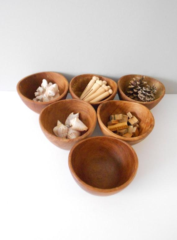 modern wooden teak  assymetrical bowls // set of 6