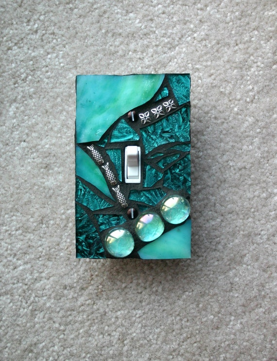Emerald Elegance - Green/Blue  - SINGLE Mosaic Light Switch Cover Wall Plate