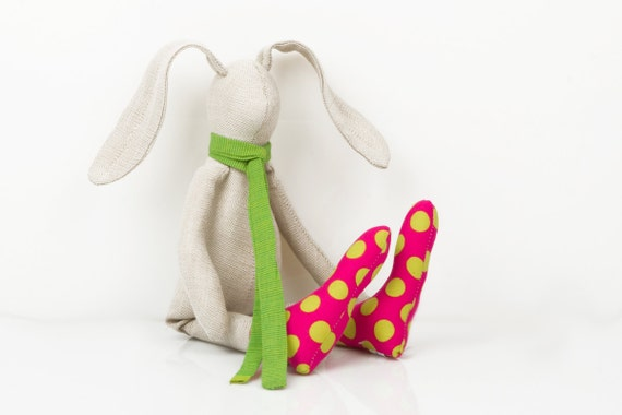 plush small bright beige rabbit wearing Glowing green scarf  and fuchsia pink socks with neon green dots -  timohandmade fabric doll