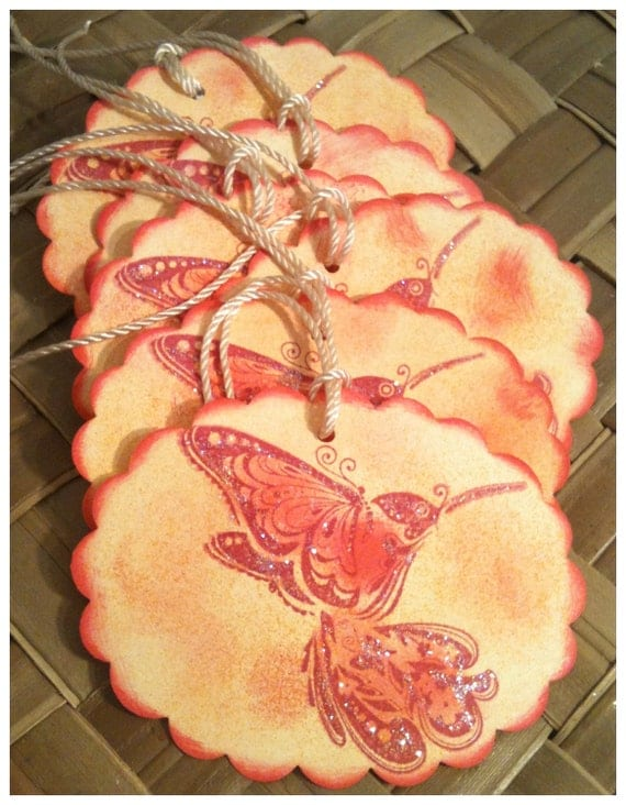 SIX Hand Inked Stamped Hummingbird Butterfly Raspberry Peach Glittered Handmade Gift Tags