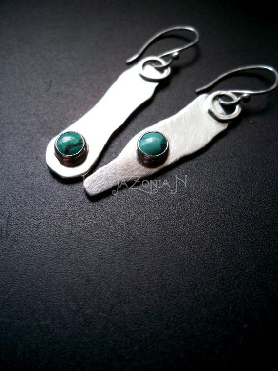 "Sterling silver turquoise free form asymmetrical fragments earrings - 2"" - Gemstone jewelry by Lamazonian"