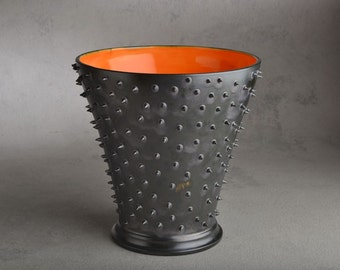 Spiky Vase Ready To Ship Black Dangerously Spiky Vase with Orange Interor by Symmetrical Pottery