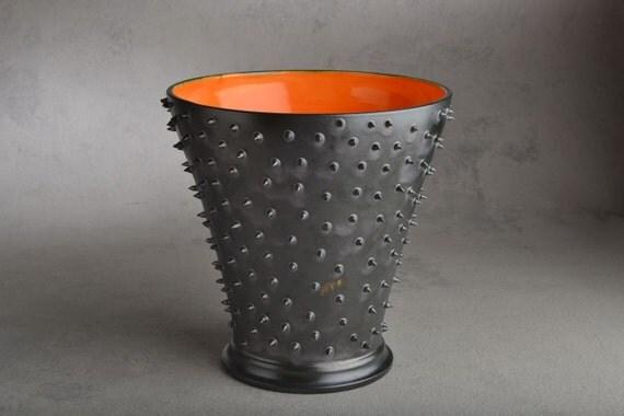 Spiky Vase Ready To Ship Black Dangerously Spiky Vase with Orange Interor by Symmetrical Pottery