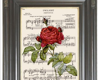 French Red rose print on music COUPON SALE Dictionary art print Wall decor Digital print Sheet music print Home decor Item No. 397