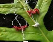 Hawaii Shell Jewelry Handmade Red and White Coral Hoop Dangle Earrings Fashionable Beach Wear