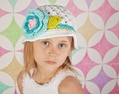 All Sizes Sun hat Beach Bucket Style Beanie Crochet Hat with Flower in white, turquoise, peacock, lime, and soft pink