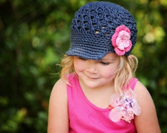 Girl Flower Newsgirl Newsboy Crocheted Hat Dark Denim, Pink, and Hot Rose. Baby toddler child tween teen adult sizes