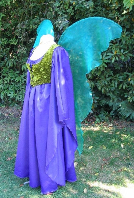 Huge Moonbeam Teal Blue Green Fairy Wings Costume Adult Xl
