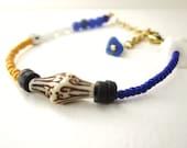 Mixed media bracelet, stacking bracelet, vintage bead bracelet, repurposed bead bracelet, handmade bracelet, blue, yellow, white