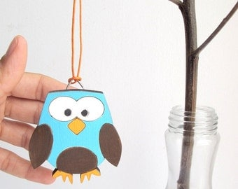 Christmas Ornament - kids wooden owl holiday decor, Christmas gift for kids, children decor, kids wall art