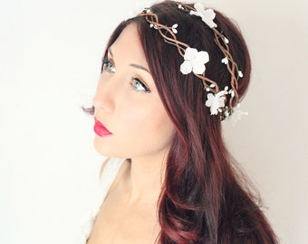 Flower Crown, Wedding, Double woven vine, Whimsical Headband, fairy wedding bridal,  white - Isabellea - by DeLoop