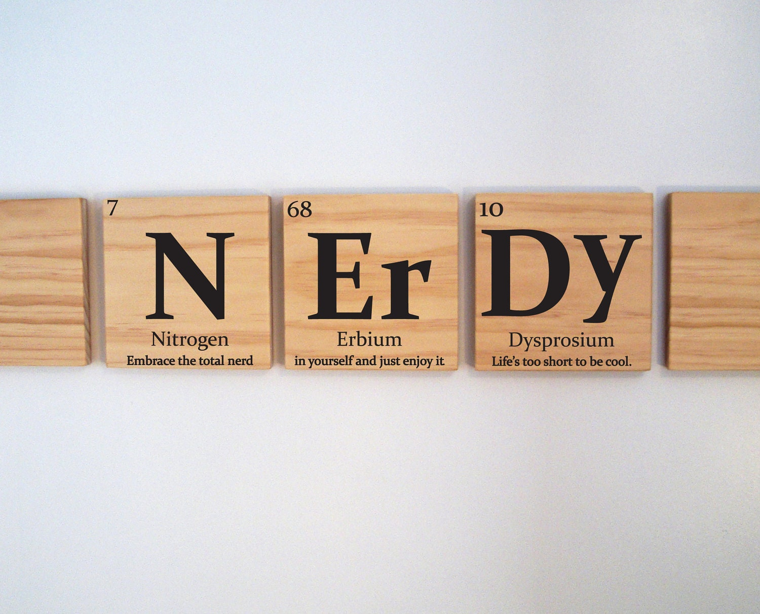 nerdy wooden tile wall art with quote periodic table of. Black Bedroom Furniture Sets. Home Design Ideas