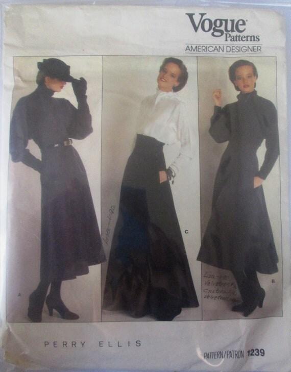 Vogue 1239 Perry Ellis Skirt Sewing Pattern 1980s