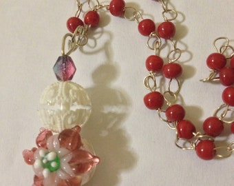 Poinsettia Rosary Glass Necklace