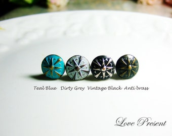 Vintage Round Heritage earrings stud style - Choose your color