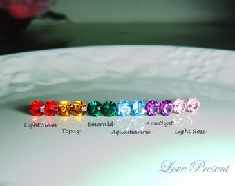 25% OFF -  6 Pairs - Colorful Rainbow Elegant Swarovski Crystal earrings stud style - Choose your color