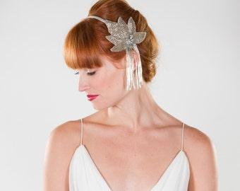 Bridal Headband- Great Gatsby Art Deco Inspired Fringe Leaf Headband