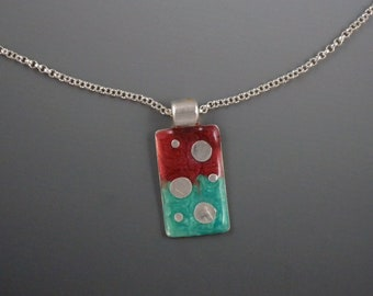 Pendant Necklace, Resin, Silver, SS Chain with Extension