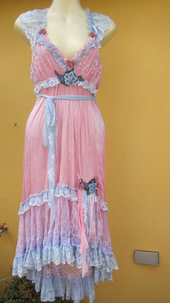 vintage inspired soft pink crushed nylon slip dress.....pink and blue i love you XxX