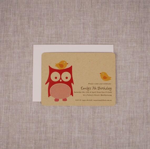 Owl Illustration Invitation  -  Set of 12