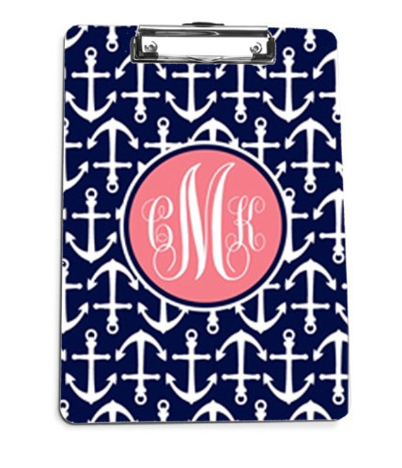 Monogram Clipboard, Monogrammed Anchor Clipboard, Personalized Clipboard, Teacher Gift, Wedding Planner Gift,
