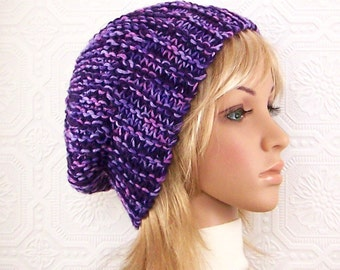 Knit slouch hat - purple color slouchy beanie - Winter Fashion handmade Sandy Coastal Designs - ready to ship