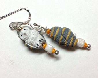 Grey Barn Owl Dangle Earrings - Sterling Silver earwires -  Petite Kid's Girl's Tweens Children's Earrings - Yellow Gray White
