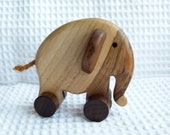 Wooden pull toy eco friendly - LITTLE elephant ELLIE