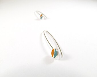 Sterling Silver Earrings, Divided Circles, Orange and Turquoise, Dangle, Modern, Contemporary, Minimal