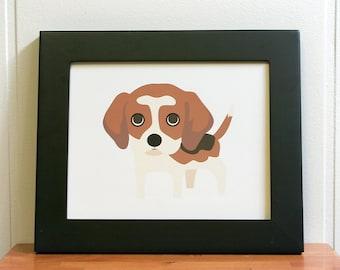 "Beagle print, beagle illustration, beagle art, beagle drawing size 8"" x 10"""