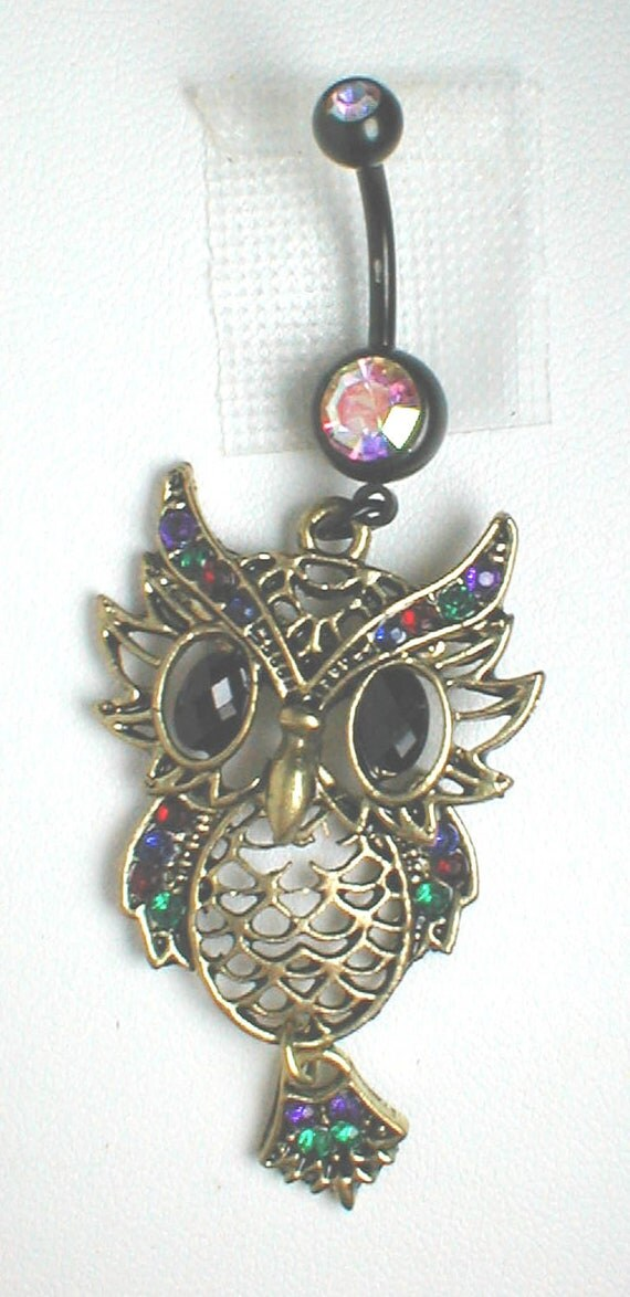 Unique Belly Ring Owl with Rhinestones