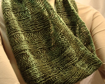 Silk, Wool, and Cotton Hand-knit Cowl