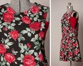 Vintage Romper // 1980s Floral Dress // 80s Floral Jumper