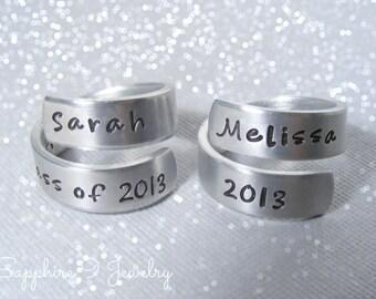 Personalized Graduation Jewelry - Personalized Class Ring - Graduation jewelry - 2014 Graduation gift - Hand stamped Jewelry