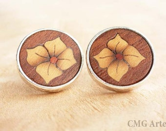 Wood flower earrings, wooden earrings, wood earrings, wood flowers, wooden jewelry, wood inlay, silver earrings, post earrings,jewelry women