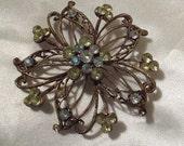 Flower Pin, Rhinestone Vintage flower brooch, Gift under 50, Yellow n clear rhinestones, RESERVED