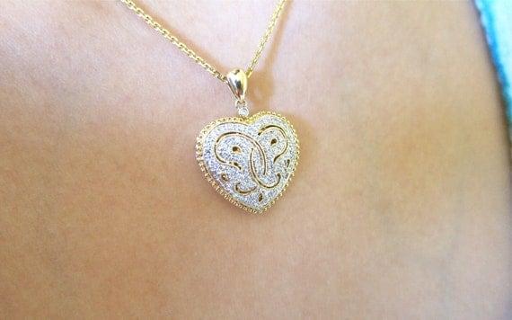 14K Yellow Gold Butterfly Diamond Locket