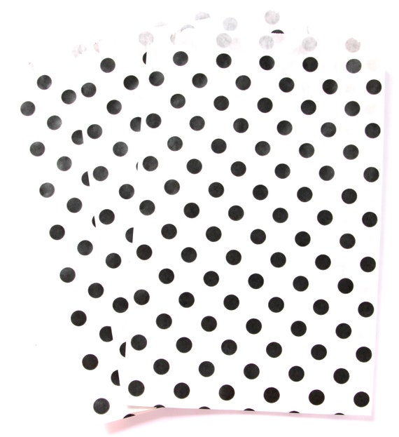 50% OFF CLEARANCE SALE - 15 Black Polka Dot Large Treat Bags (Treat Bags, Favor Bags, Gift Wrap, Envelopes) - 6.25 x 9.25 inches