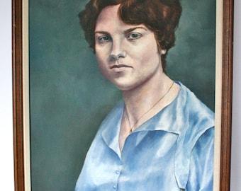 Vintage Large Oil Painting Woman Realist Modern Portrait