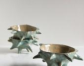 art bowl, decorative ceramic vessel, sculpture, home decor - unique, handbuilt SPIKY CHESTNUT BOWL by karoArt ceramics, Ireland