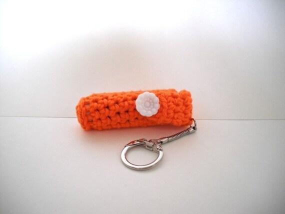 Crochet Keychain Lip Balm Holder - Bright Orange