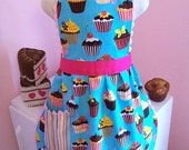 Girls Cupcake Apron, Retro Toddler Apron,  LAST ONE~ Ready made 2-3T