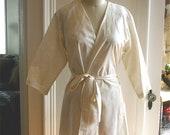 Champagne Wedding Robe. Champagne Bridal Robe. Getting Ready Robe. Pearl Lace. Small thru Plus Size Kimono Robe. Knee Length.