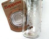 etched owl design mason jar w/ CUPPOW lid