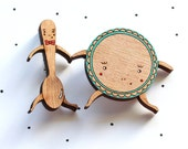 Wooden Laser Cut Dish and Spoon Brooch - SALE