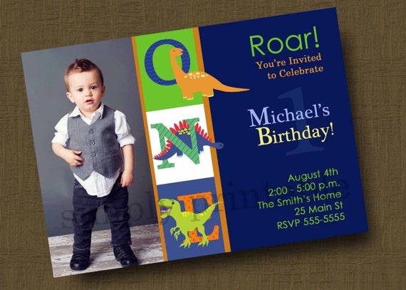 Dinosaur Birthday Party Invitation with Photo